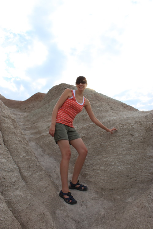 Christy hiking in badlands