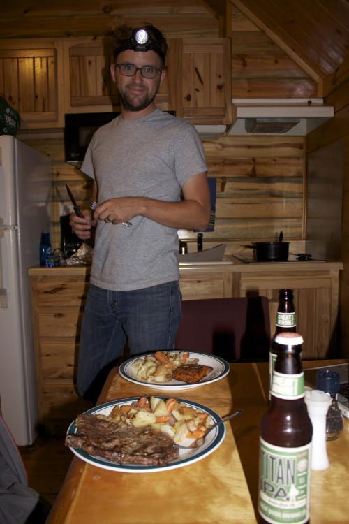dinner in cabin