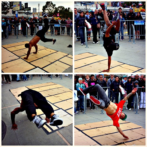 Break dancers on the pier