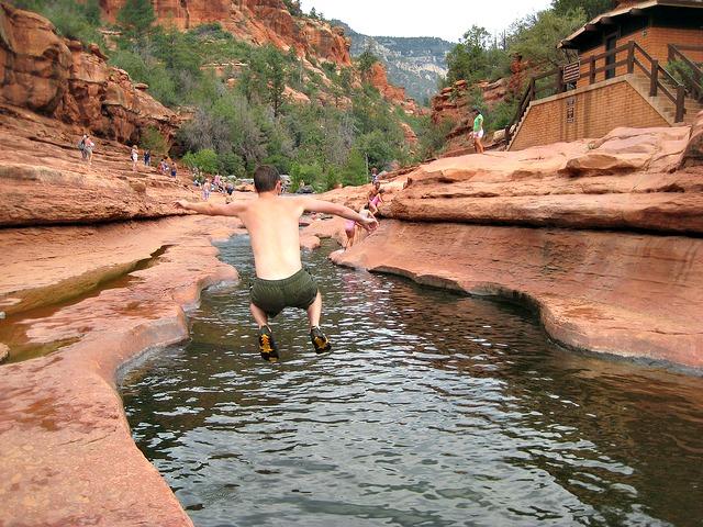 Mark jumping slide rock