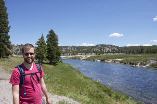 Mark hiking to Grand Prismatic