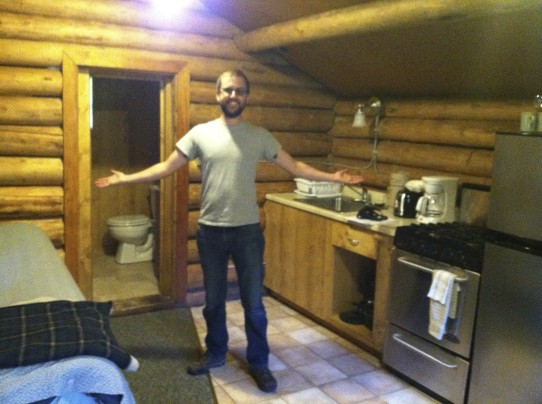 Mark in cabin