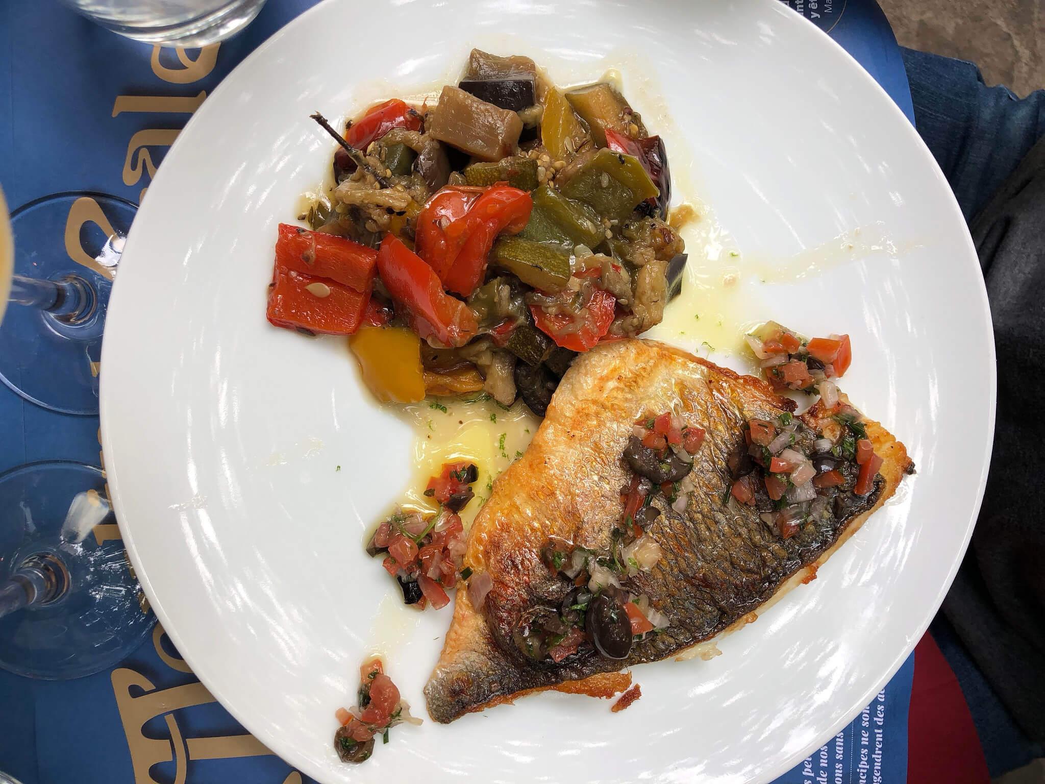 Fish and eggplant